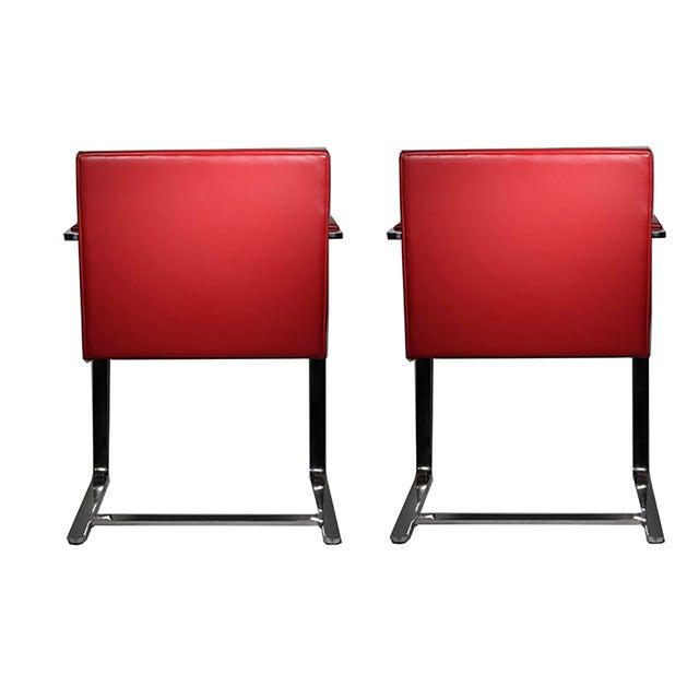 Red Leather Brno Flat Bar Armchair by Gordon International - Image 6 of 7