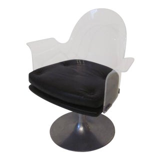 Vladimir Kagan Styled Lucite Upholstered Swivel Chair For Sale