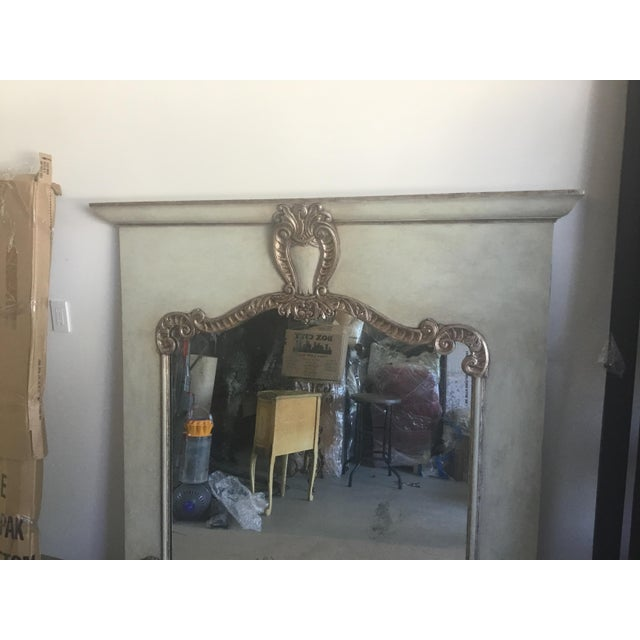 Contemporary Contemporary Antiqued Silver Fireplace Mirror For Sale - Image 3 of 9