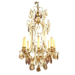 19th-20th Century French Louis XV Gilt Bronze Eight-Light Chandelier For Sale