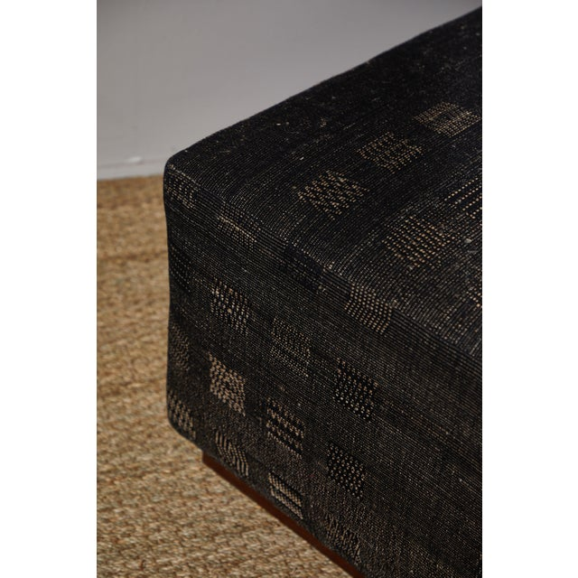 Silk Handwoven Indian Fabric Upholstered Ottoman For Sale - Image 7 of 10