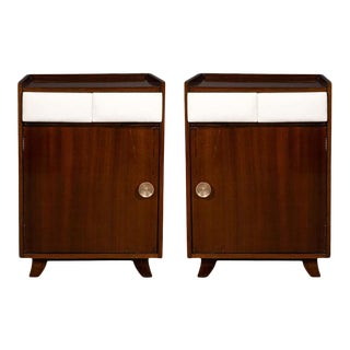 Art Deco Bookmatched Mahogany and Leather Nightstands by Gilbert Rohde - a Pair For Sale