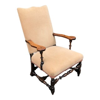 Antique French Country Fruitwood Throne Armchair For Sale