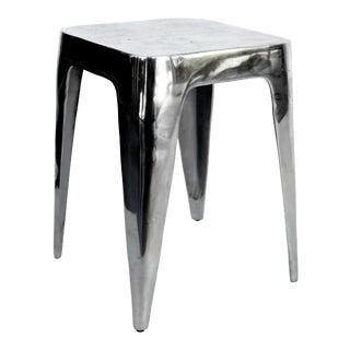Vinatge Modern Pewter Stool /Side Table For Sale