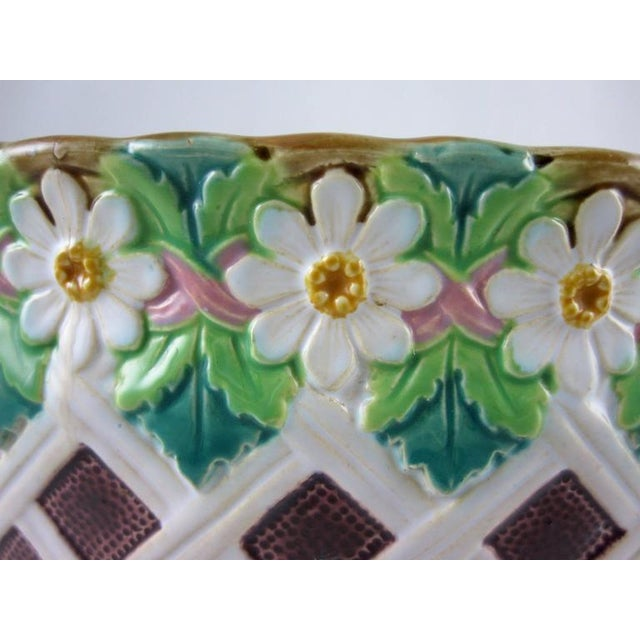 Minton 19th C. Minton Majolica Daisy & Trellis Jardinière on Stand For Sale - Image 4 of 11