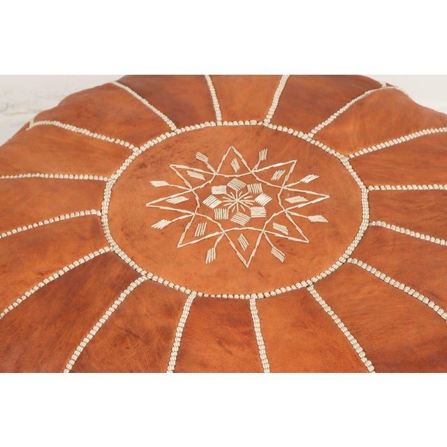 Boho Chic Moroccan Handcrafted Leather Camel Ottoman For Sale - Image 3 of 7