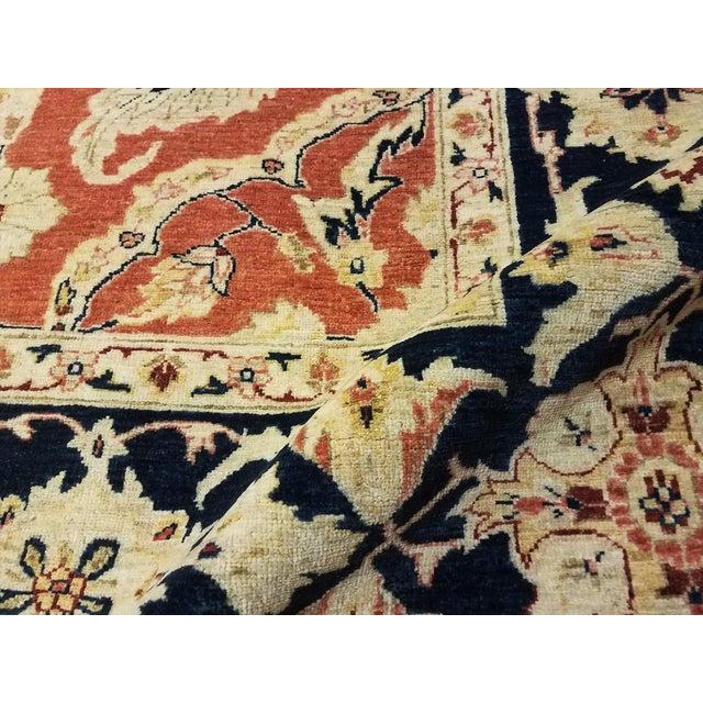 "Kafkaz Peshawar Risa Orange Blue Wool Rug - 9'2"" x 11'10"" For Sale In New York - Image 6 of 8"