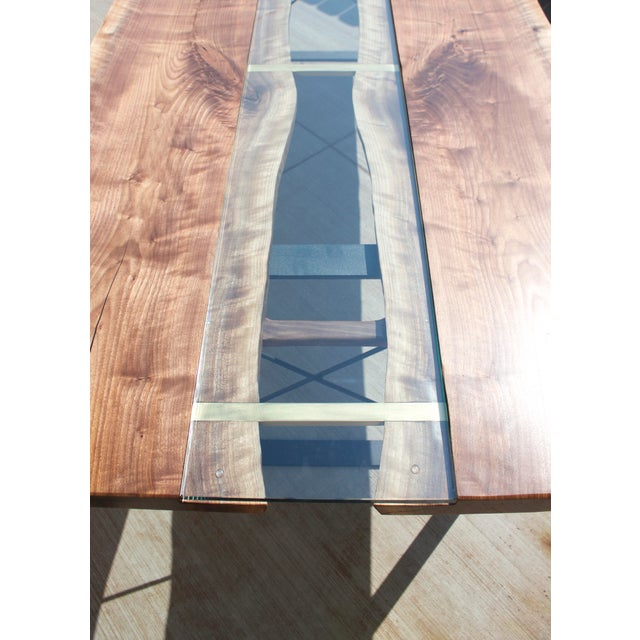 Claro Walnut Slab Dining Table With Solid Brass Inlays + Glass River Center Display For Sale - Image 10 of 11