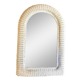 White Wicker Wall Mirror For Sale