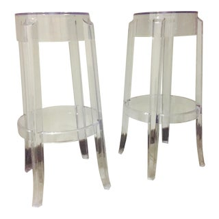 "Klipper ""Ghost"" Clear Acrylic Modern Bar Stools - A Pair For Sale"