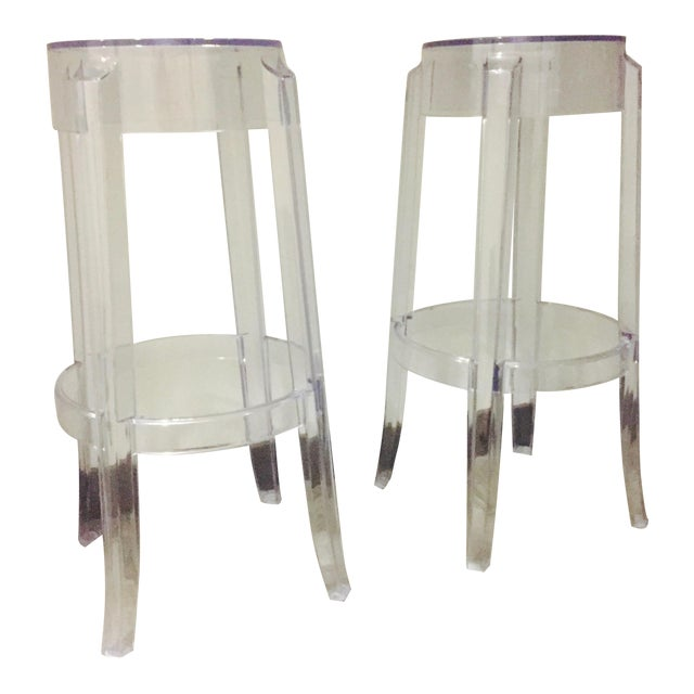 "Klipper ""Ghost"" Clear Acrylic Modern Bar Stools - A Pair - Image 1 of 6"