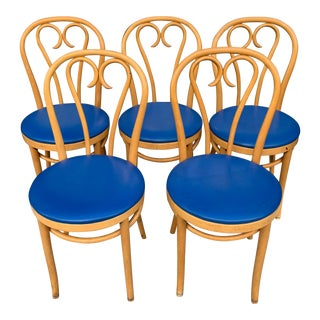 Bent Wood Cafe Chairs Attributed to Thonet - Set of 5 For Sale