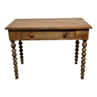 1900s French Country Table / Desk With Ball Twist Legs and Drawer For Sale