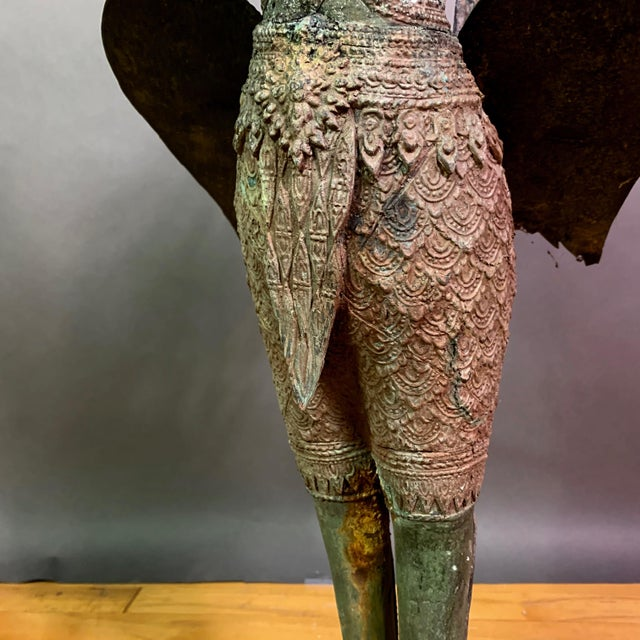 """Gold Early 1900s Mythologic Kinnaris 30"""" Bronze Statue, Thailand For Sale - Image 8 of 12"""