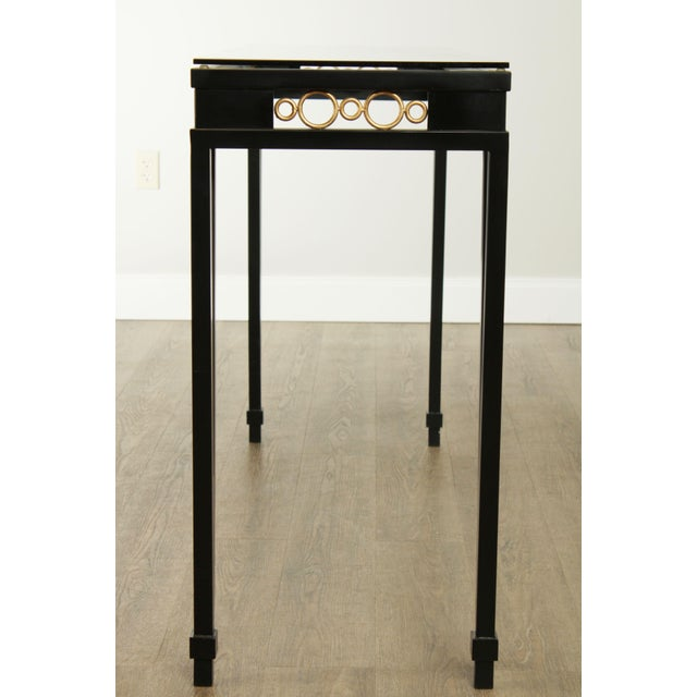 Early 21st Century Hollywood Regency Style Black & Gold Glass Top Console Table For Sale - Image 5 of 13