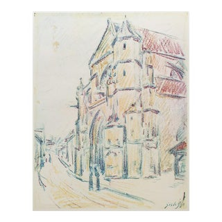 "American Classical Lithograph ""The Church at Moret"" by A. Sisley For Sale"