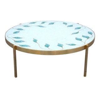 Glass Tile and Bronze Framed Coffee Table