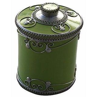 Pistachio Ceramic Jar With Silver Inlay