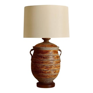 Oversized Ochre Glazed Ceramic Urn Lamp For Sale