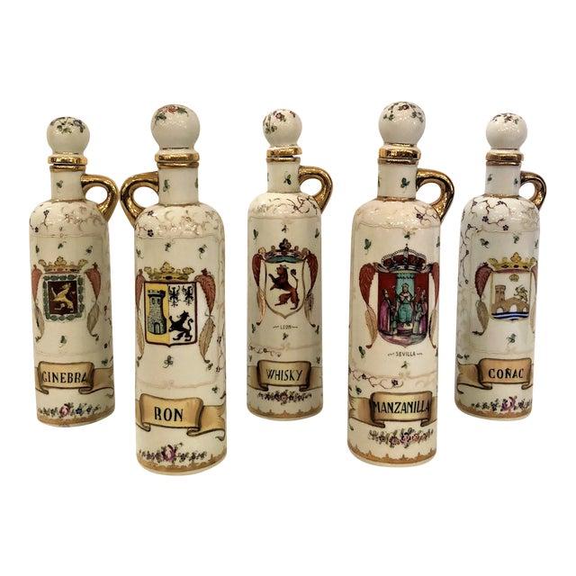 Set of 5 Antique 19th Century Spanish Liquor Bottles. (Rum, Gin, Sherry, Whiskey, Cognac) For Sale