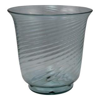Art Deco Era Steuben Glassworks Baby Blue Translucent Swirl Bowl For Sale