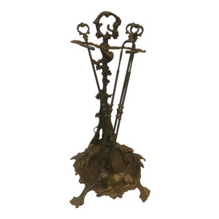 Early 20th Century Vintage Brass Decorative European Fireplace Tools For Sale