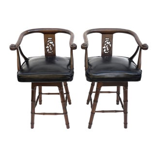 Vintage Rosewood Swiveling Faux Bamboo Ming Style Counter Stools || Pair of Mid-Century James Mont Era Chinoiserie Barstool Arm Chairs For Sale