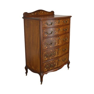 R. J. Horner Antique Mahogany Marquetry Inlaid High Chest For Sale