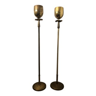 1950s Brass Torchiere Floor Lamps - a Pair For Sale