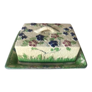 Antique 1920s Majolica Cheese or Butter Dish For Sale