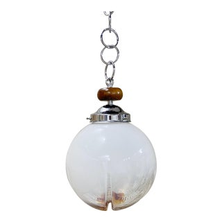 Mazzega Murano Italian Mid-Century Glass Globe Pendant Light For Sale