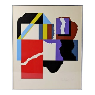Mid Century Modern Contemporary Geometric Signed by Rob Moore 1975 2/260 For Sale