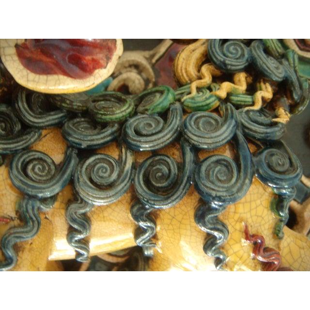 Green Framed Antique Chinese Ceramic Tile - Foo Dog/Lion For Sale - Image 8 of 10