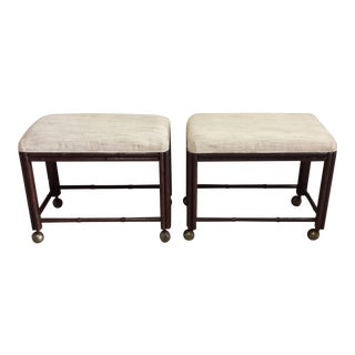 Drexel Faux Bamboo Ottomans - A Pair For Sale