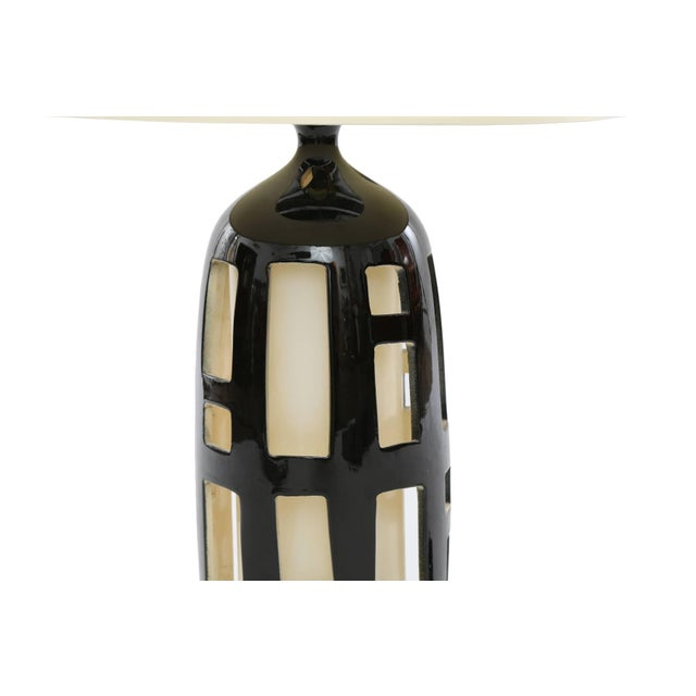 Striking Pair of Cut-Out Ceramic Lamps For Sale - Image 4 of 5