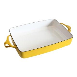 1980s Dansk Yellow Enamel Casserole Dish For Sale
