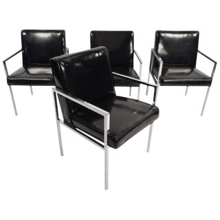 Mid-Century Modern Vinyl and Chrome Dining Chairs - Set of 4 For Sale