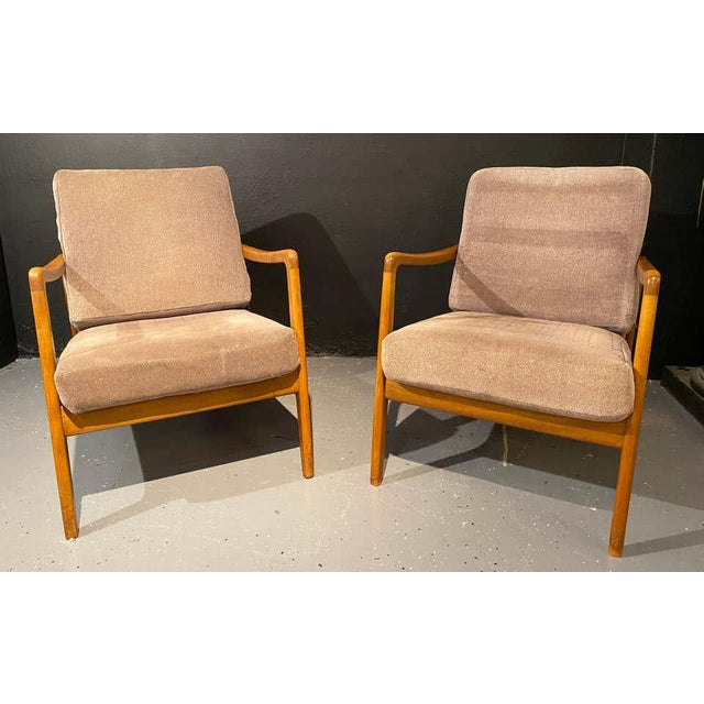Pair of France & Daverkosen Teak Armchairs from Mid-Century Modern era. If sleek and stylish are what you are seeking look...