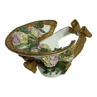 English Decorative Ceramic Basket For Sale