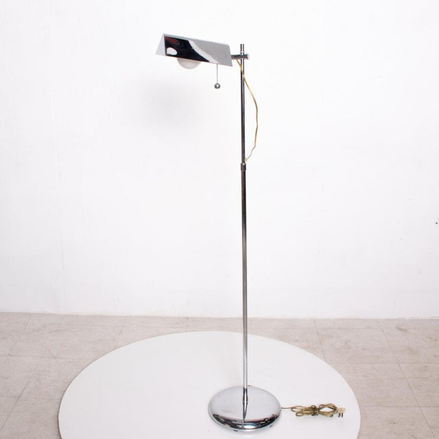 Mid-Century Modern Chrome Reading Floor Lamp After Koch Lowy For Sale - Image 10 of 10