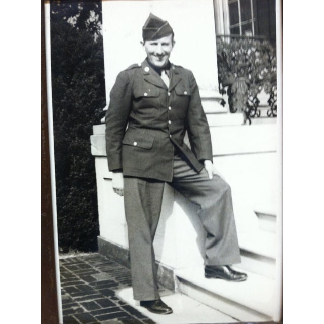 """Americana Vintage Mid-Century """"Army Recruit"""" Black & White Photograph For Sale - Image 3 of 4"""