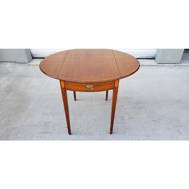 1950s Mid-Century Modern Biggs Mahogany Pembroke Drop Leaf Side Table For Sale - Image 13 of 13