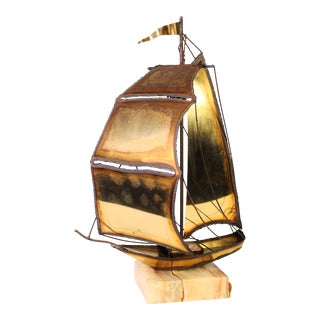 1970's Mario Jason Signed Brutalist California Nautical Brass Ship on Honey Onyx For Sale