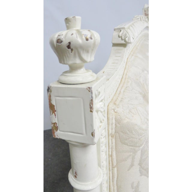 Louis XVI Style White Carved Sofa For Sale - Image 4 of 8