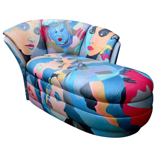 Pop Art Hand Painted Chaise Lounge By Robert Fischer For Sale