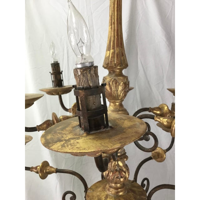 Italian 19th Century Carved Wooden Fragments Chandelier With 12 Arms For Sale - Image 9 of 13