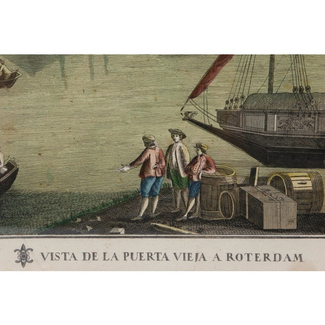 Late 19th Century Antique Hand Colored Engraving of the Port of Rotterdam For Sale - Image 5 of 9