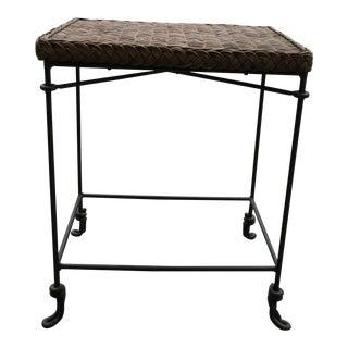 1960s Mid Century Modern Arthur Umanoff Style Rattan and Wrought Iron Side Table