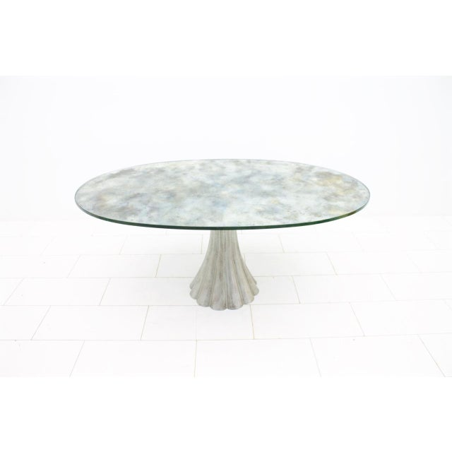 Oval Dining Table With Mirrored Glass Top and Metal Base Italy 1960s For Sale - Image 11 of 11