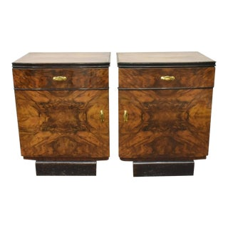 1930s Italian Art Deco Highly Figured & Burled Walnut Bedside Cabinet - a Pair For Sale